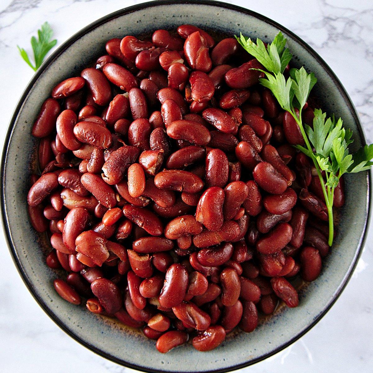 overhead bowl of vegan pressure cooker red beans