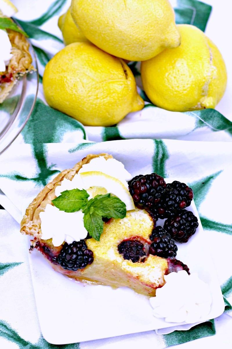 Southern Blackberry Lemon Chess Pie Recipe #recipe #pie #pierecipe #lemon #lemonpie #chesspie #blackberry Blackberrypie #southernpie #southernchesspie #southernrecipe