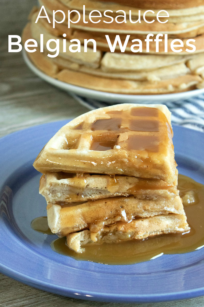 pin stacks of applesauce belgian waffles