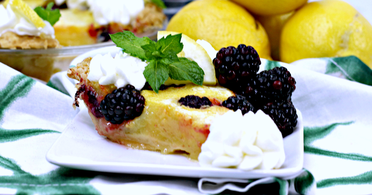 slice of blackberry lemon chess pie