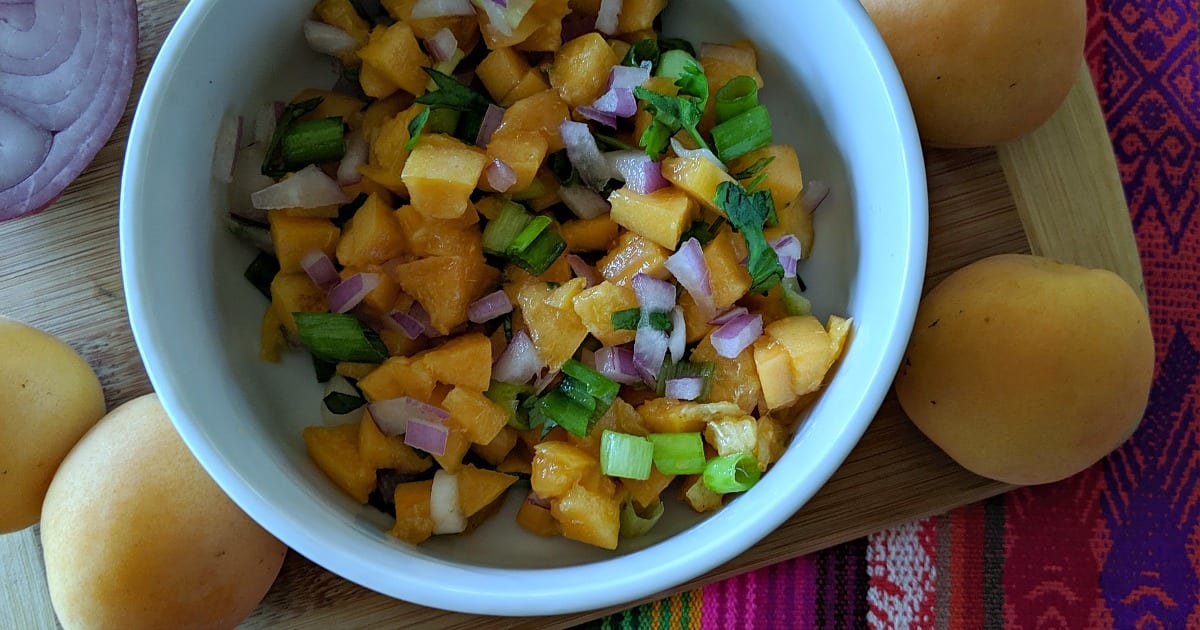 bowl of apricot salsa