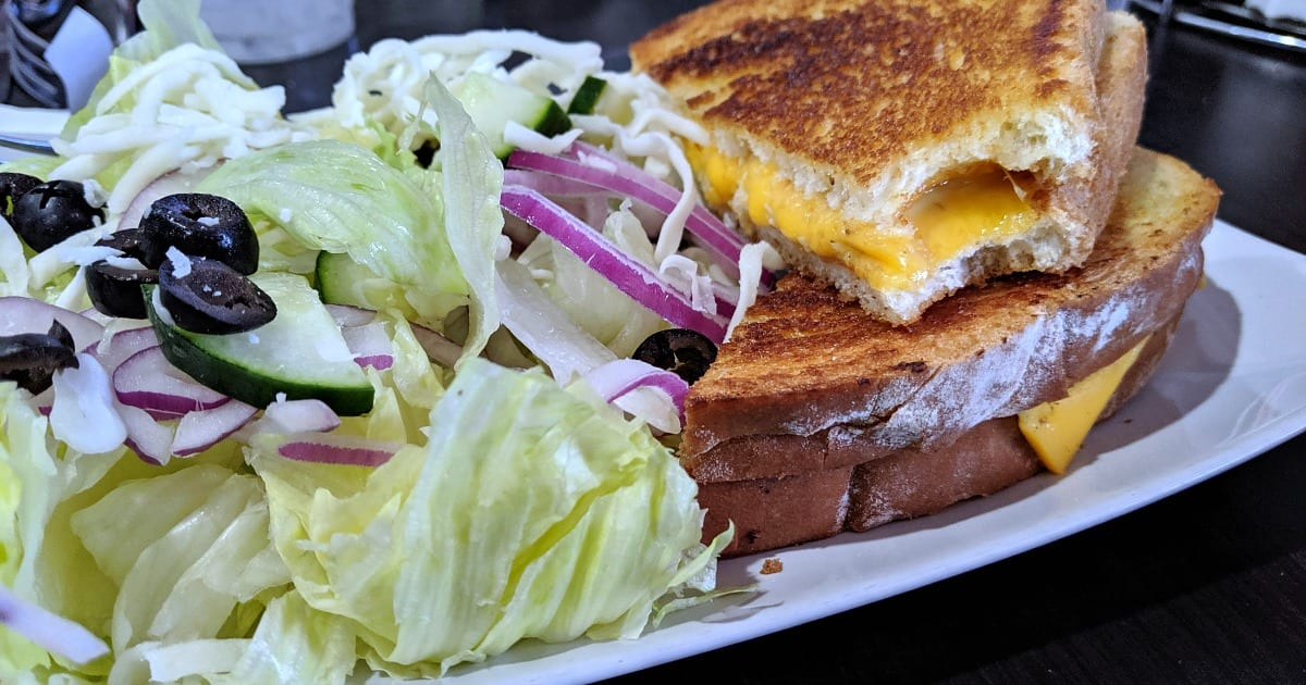 grilled cheese sandwich and salad at oak shores lake morena