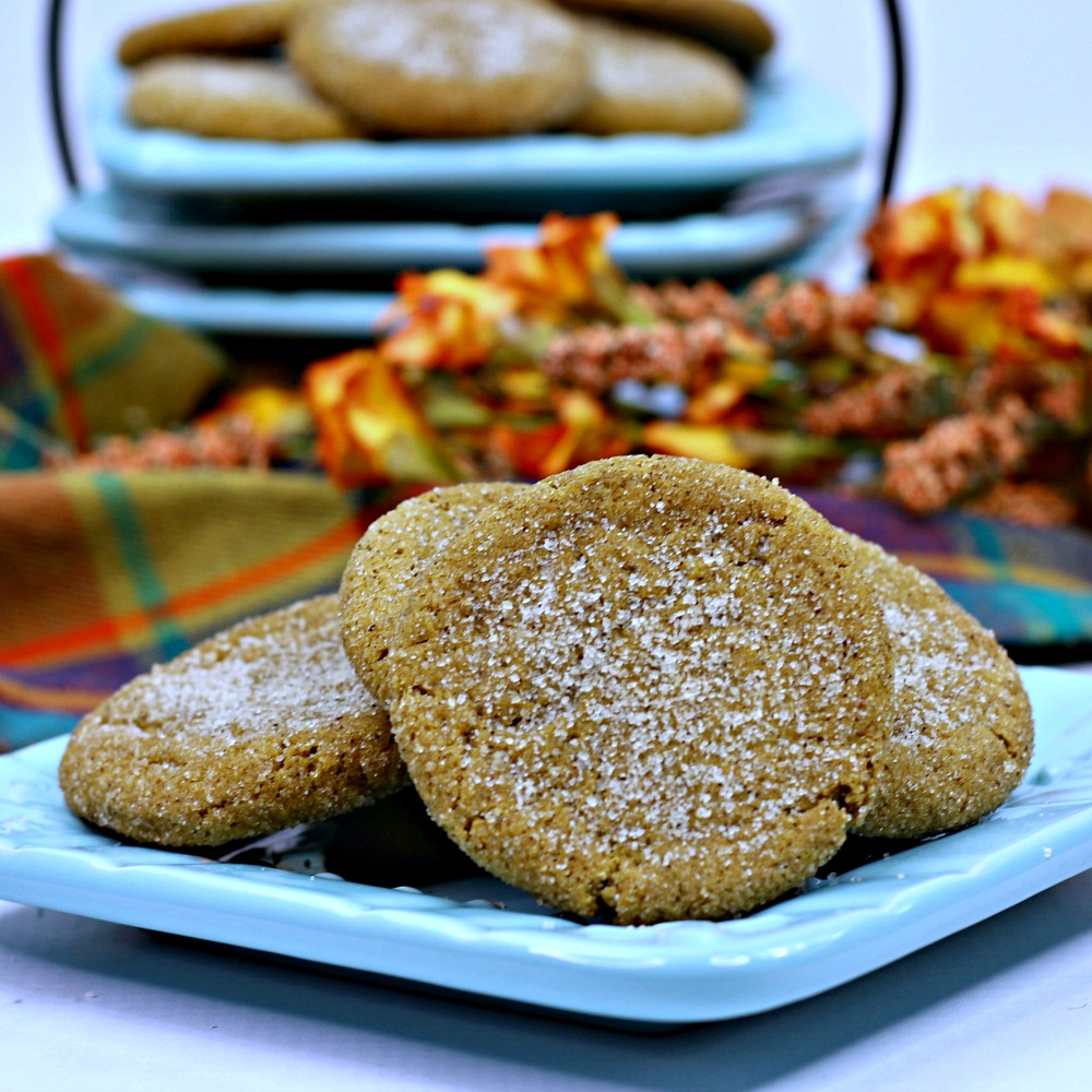 insta fall molasses cookies on plate