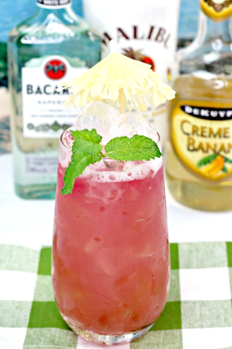 Pink Pirate Rum Punch Cocktail Recipe #Recipes #Cocktails #CocktailRecipes #RumPunch #RumCocktails #AdultBeverage #PinkCocktails #PinkDrinks