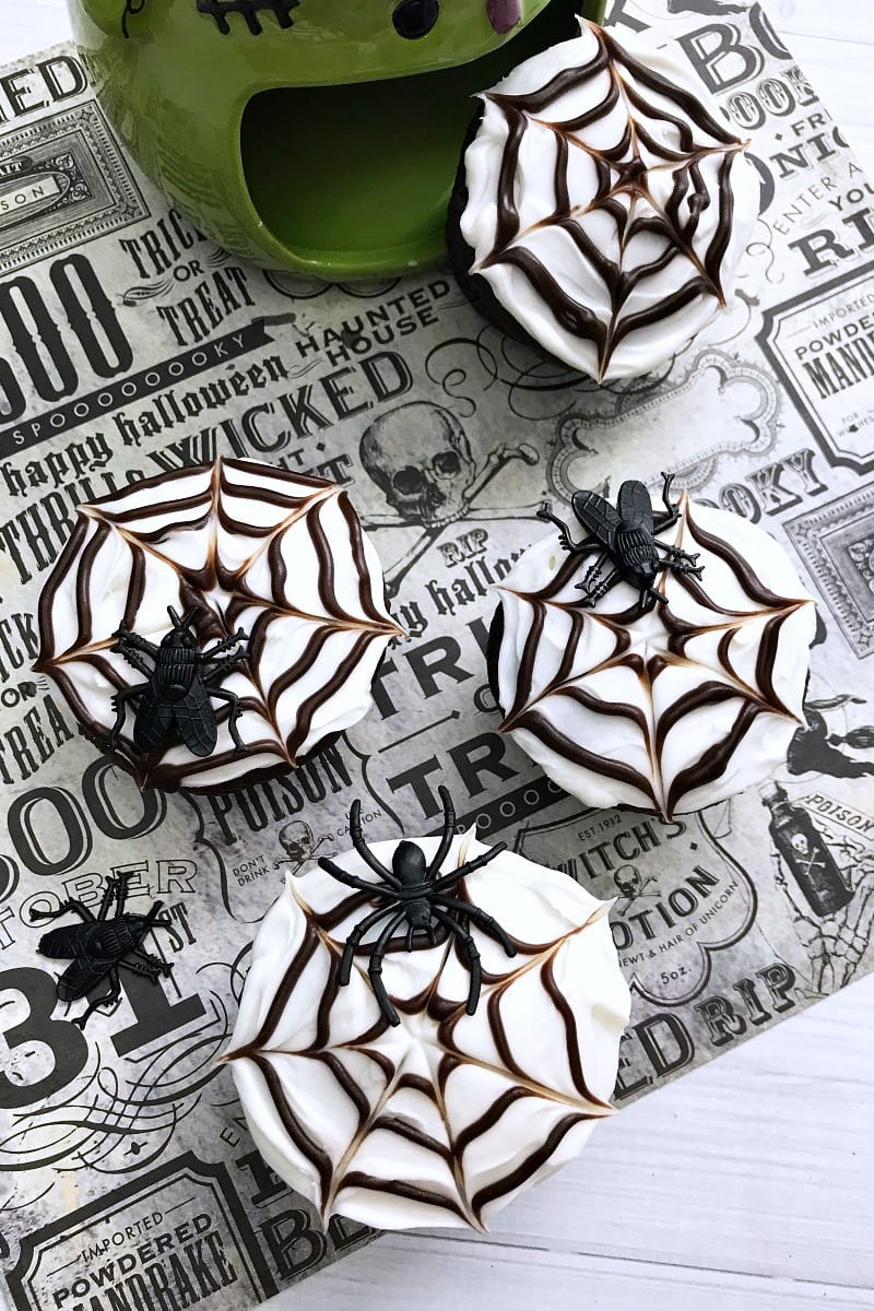 no text pin spider cupcakes and frankenstein