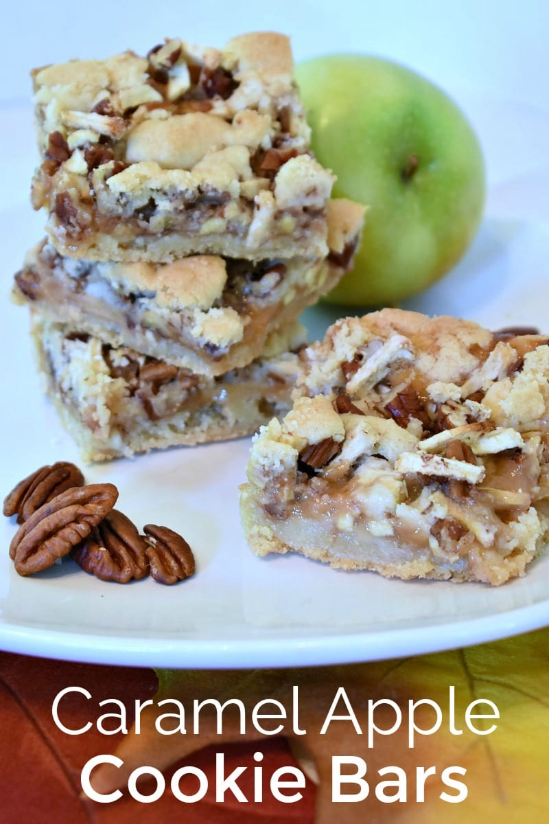 pin caramel apple cookie bars and fall leaves