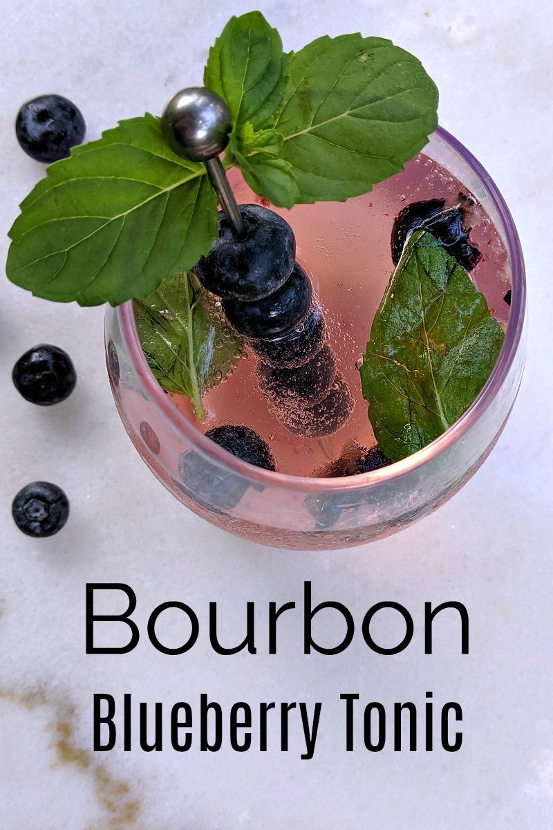 pin overhead bourbon blueberry mint cocktail