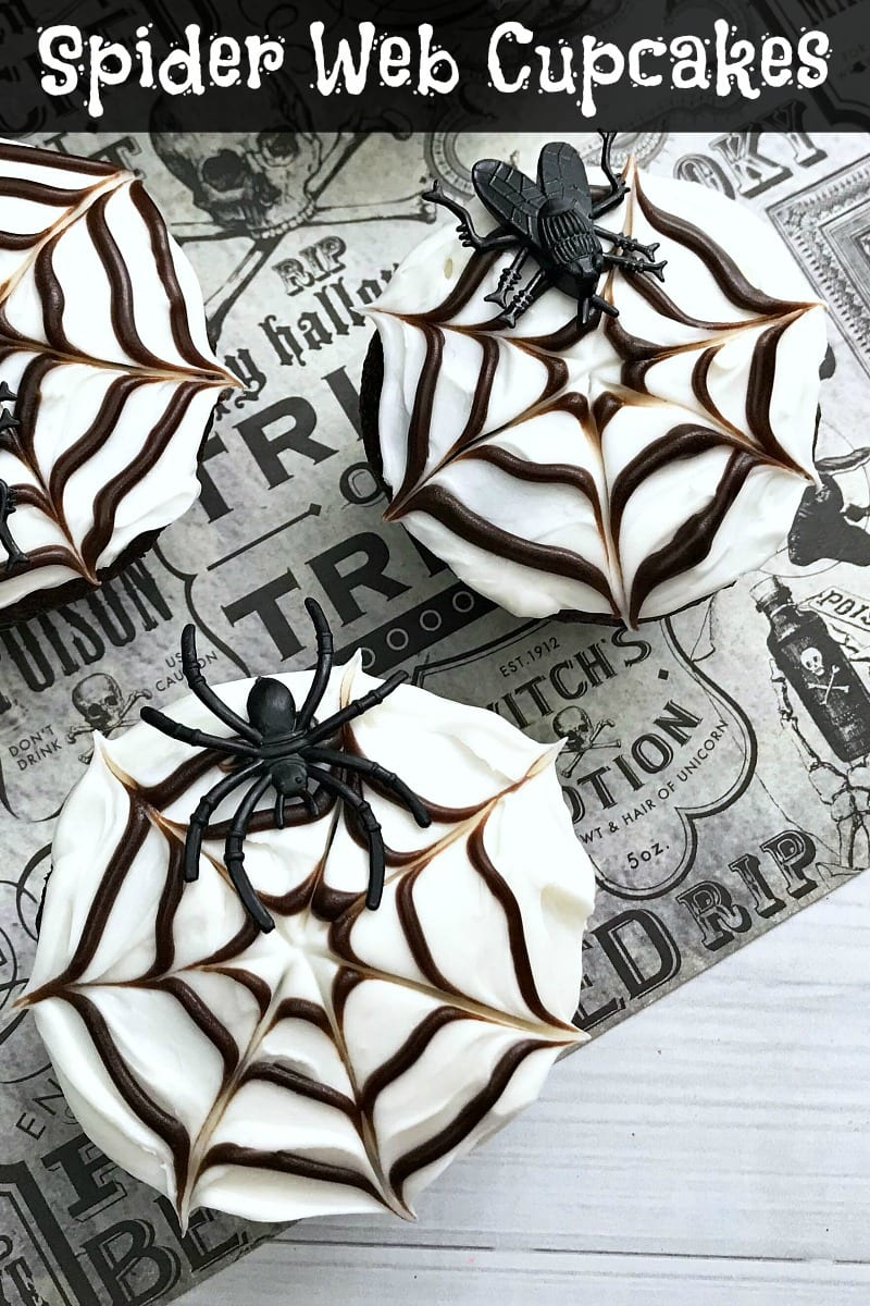 pin overhead spider web cupcakes