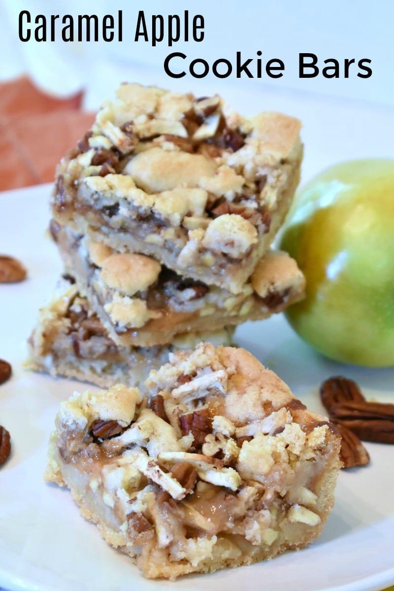 Caramel Apple Cookie Bars Recipe #CaramelApple #CaramelCookies #CookieBars