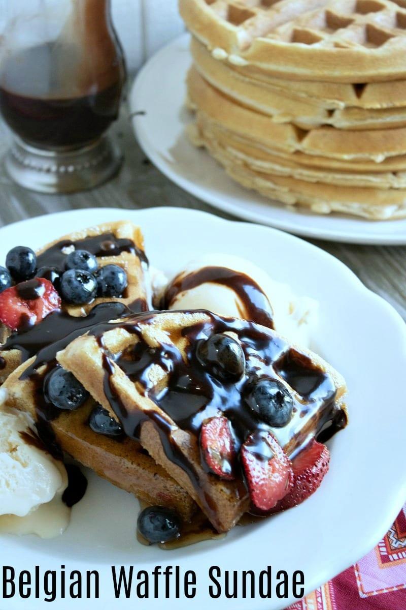 Homemade Belgian Waffle Sundae Recipe #Recipe #Waffles #WaffleSundae #IceCreamSundae #WafflesRecipe