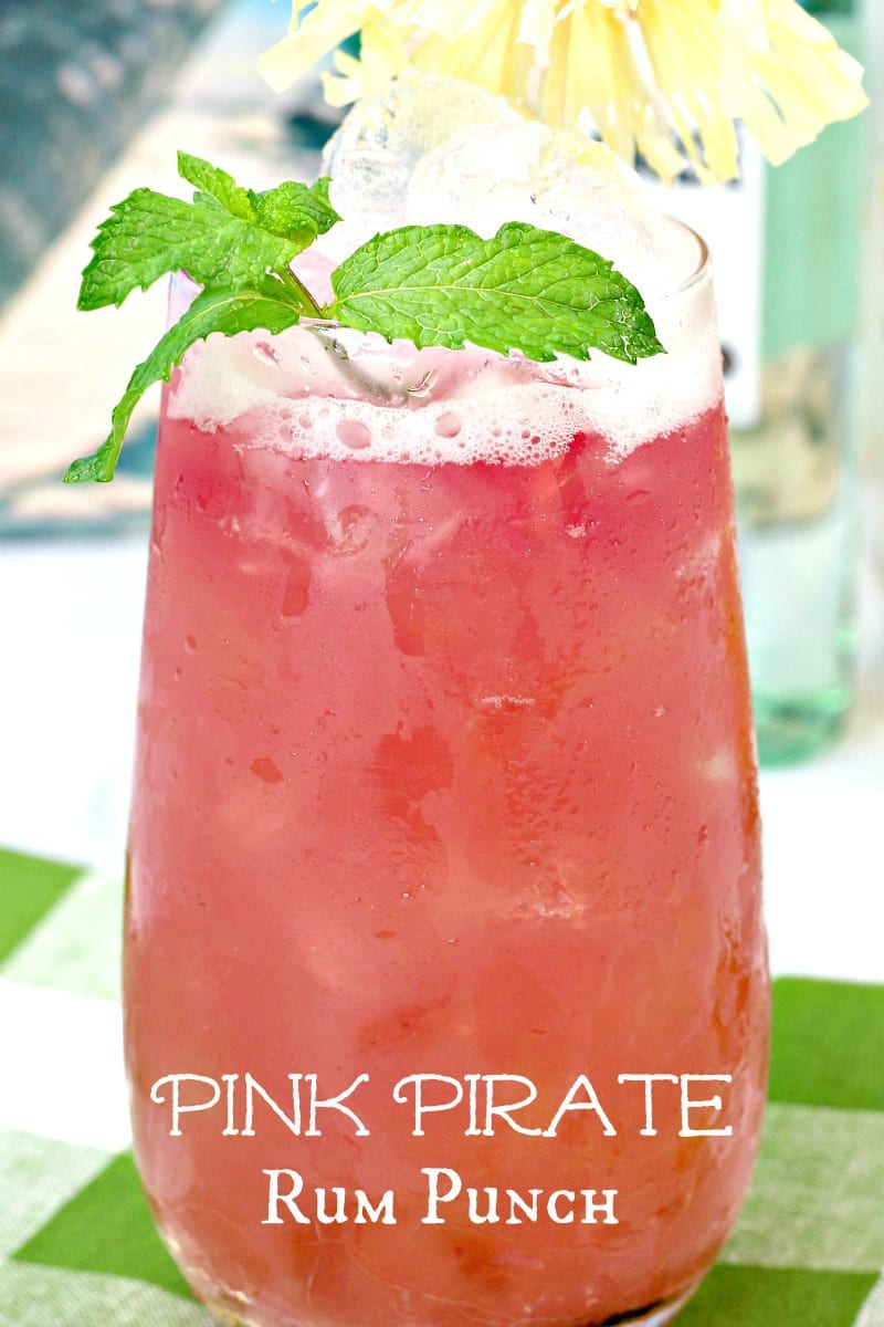 Pink Pirate Rum Punch Cocktail Recipe #Recipes #Cocktails #CocktailRecipes #RumPunch #RumCocktails #AdultBeverage #PinkCocktails #PinkDrinks