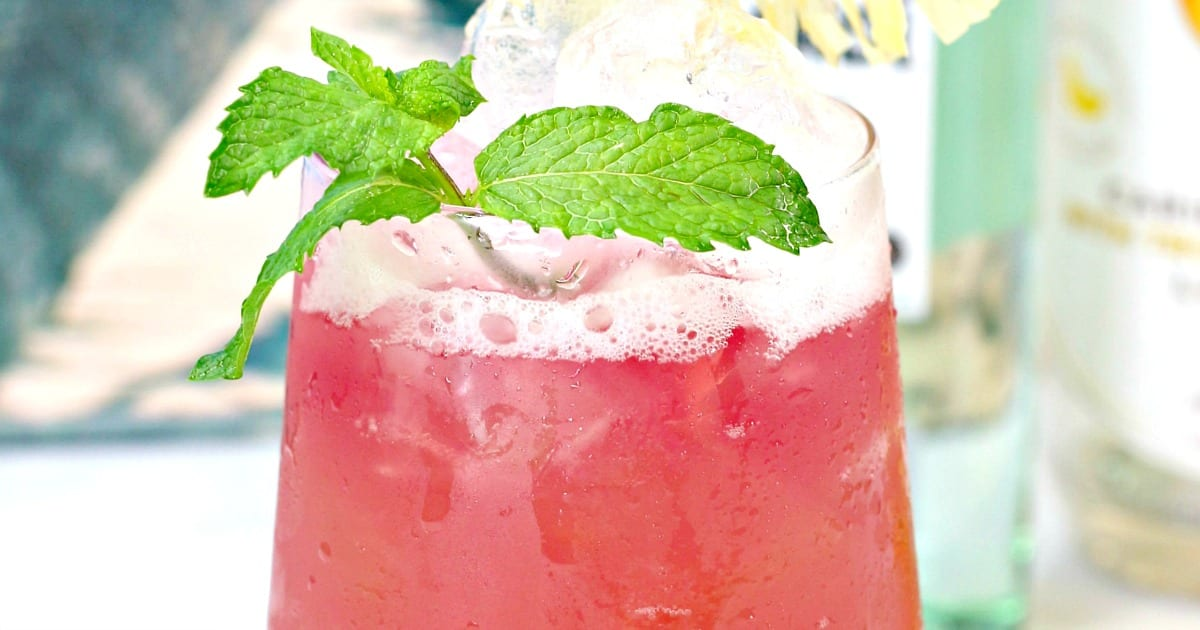pink punch with mint garnish