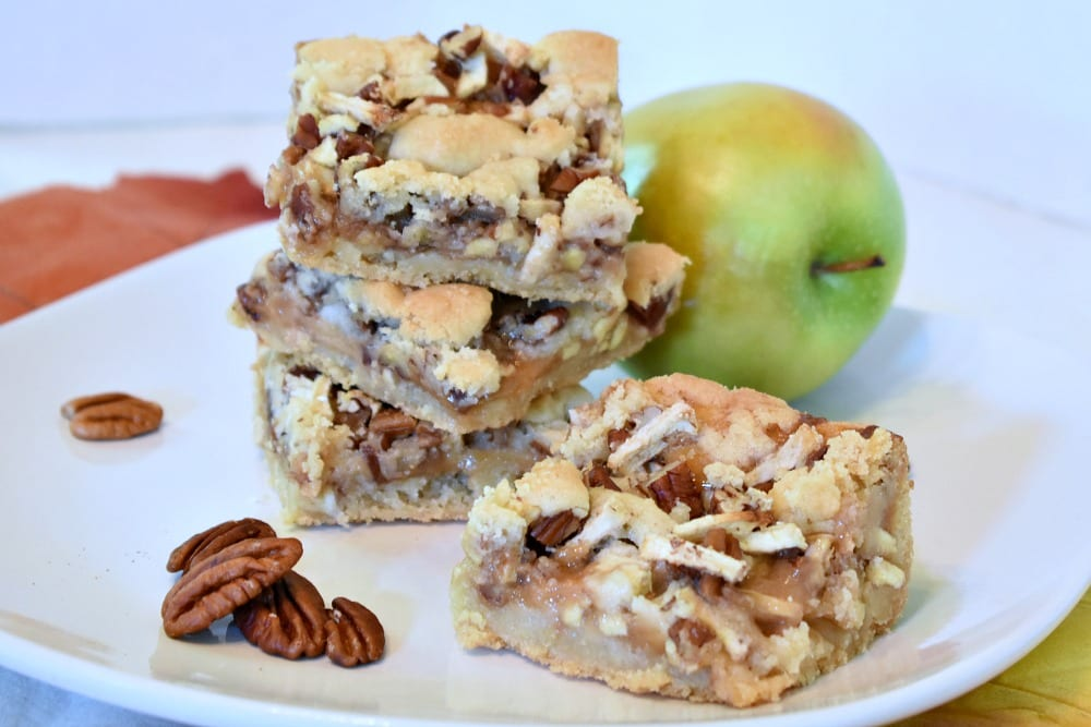 plate of caramel apple cookie bars