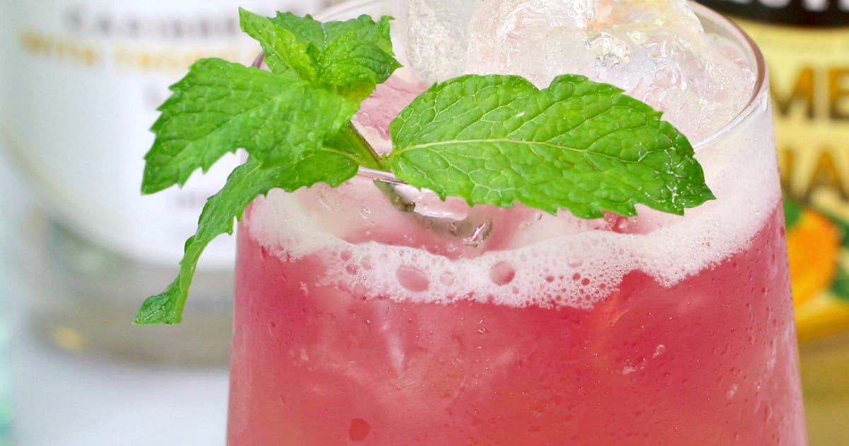 rum punch with mint garnish