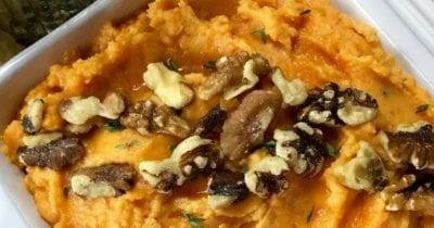 feature creamy savory mashed sweet potatoes