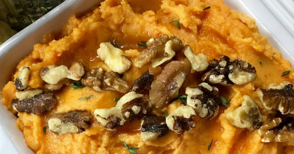 feature creamy savory mashed sweet potatoes