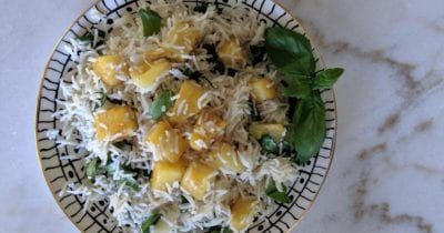 feature plate of pineapple basil basmati rice