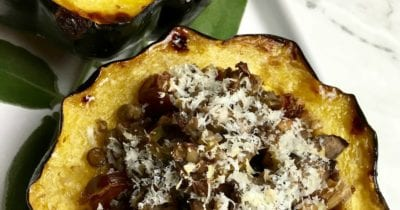 feature vegan stuffed acorn squash