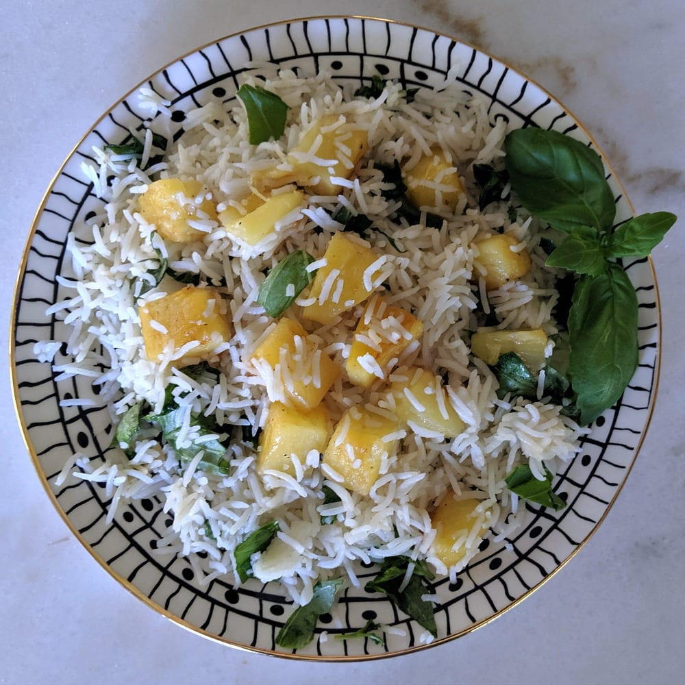 insta plate of pineapple basil basmati rice