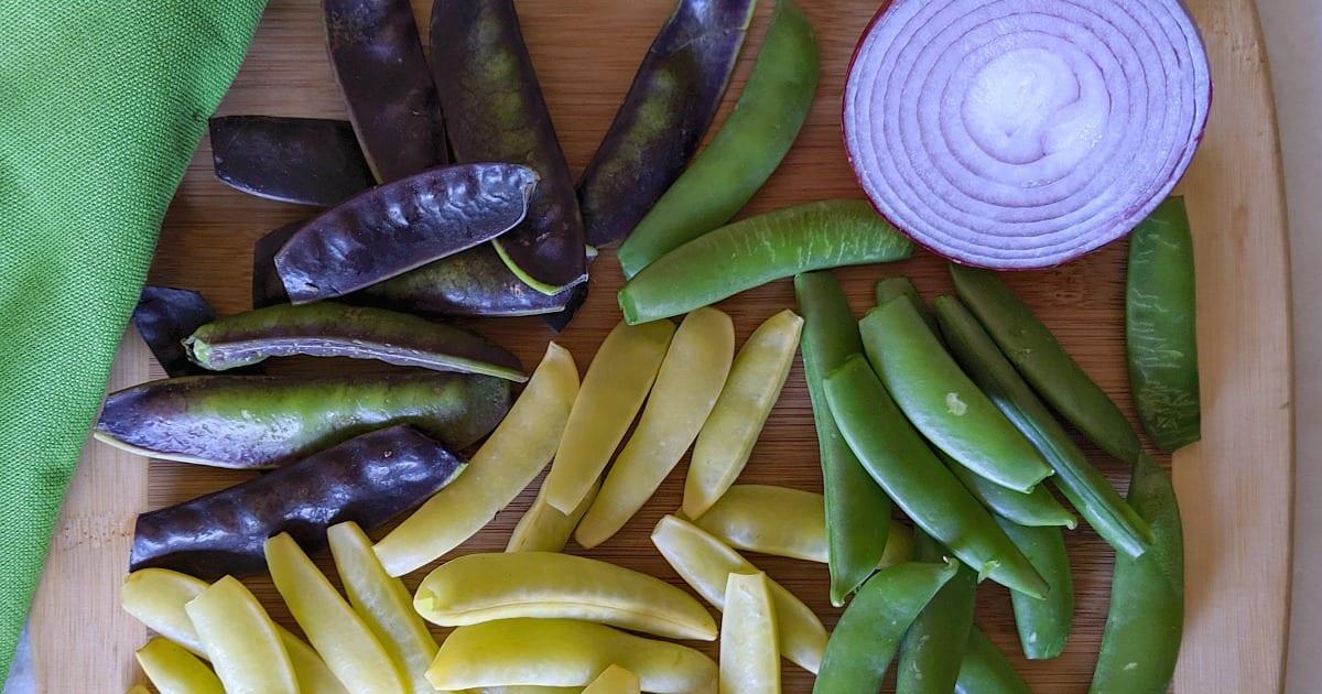 multicolored sugar snap peas