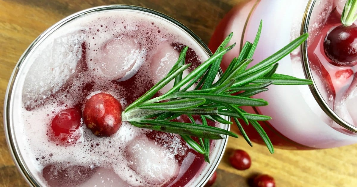 overhead view cranberry mocktail punch