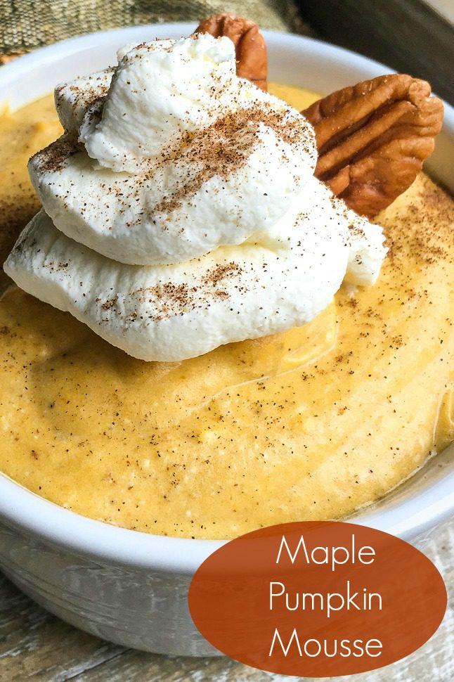 Maple Pumpkin Mousse Recipe #Mousse #GlutenFree #GlutenFreeDessert #NoBakeDessert