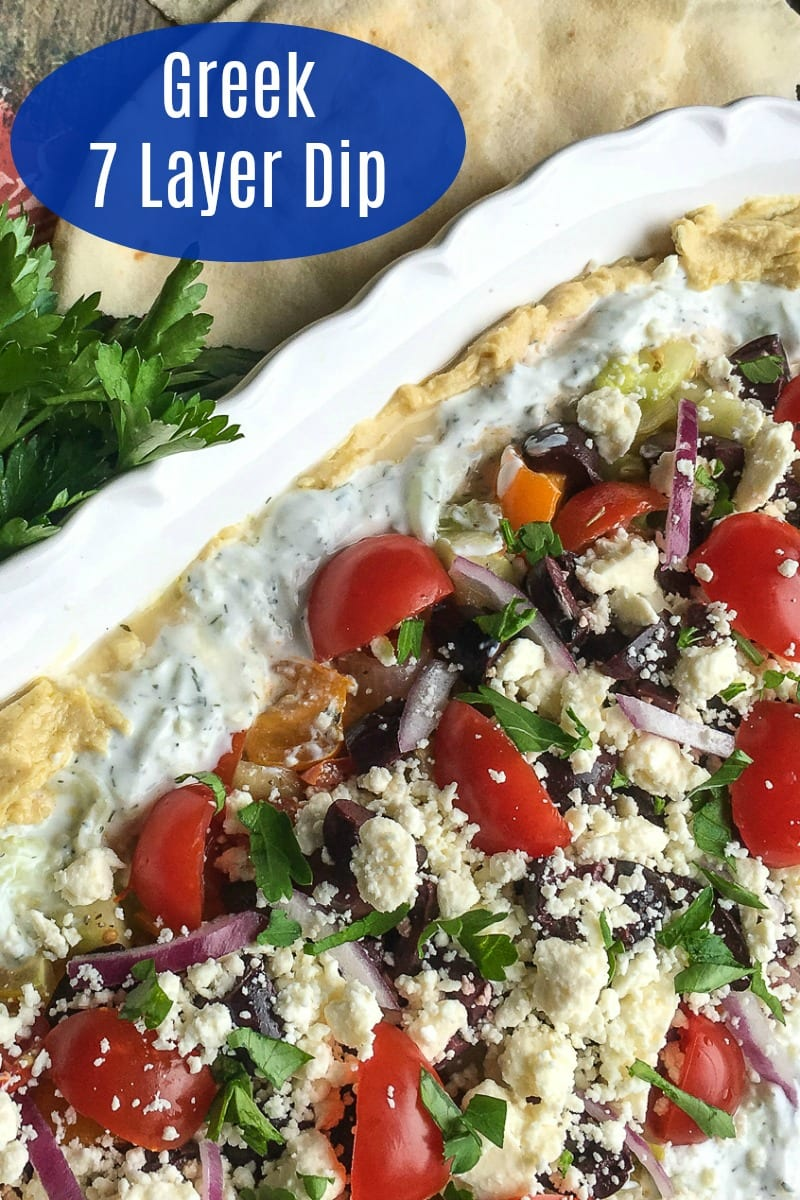 Greek 7 Layer Dip Recipe That Is Great for Parties #7LayerDip #Recipe #GreekAppetizer #MediterraneanAppetizer #LayeredDip #PartyFood