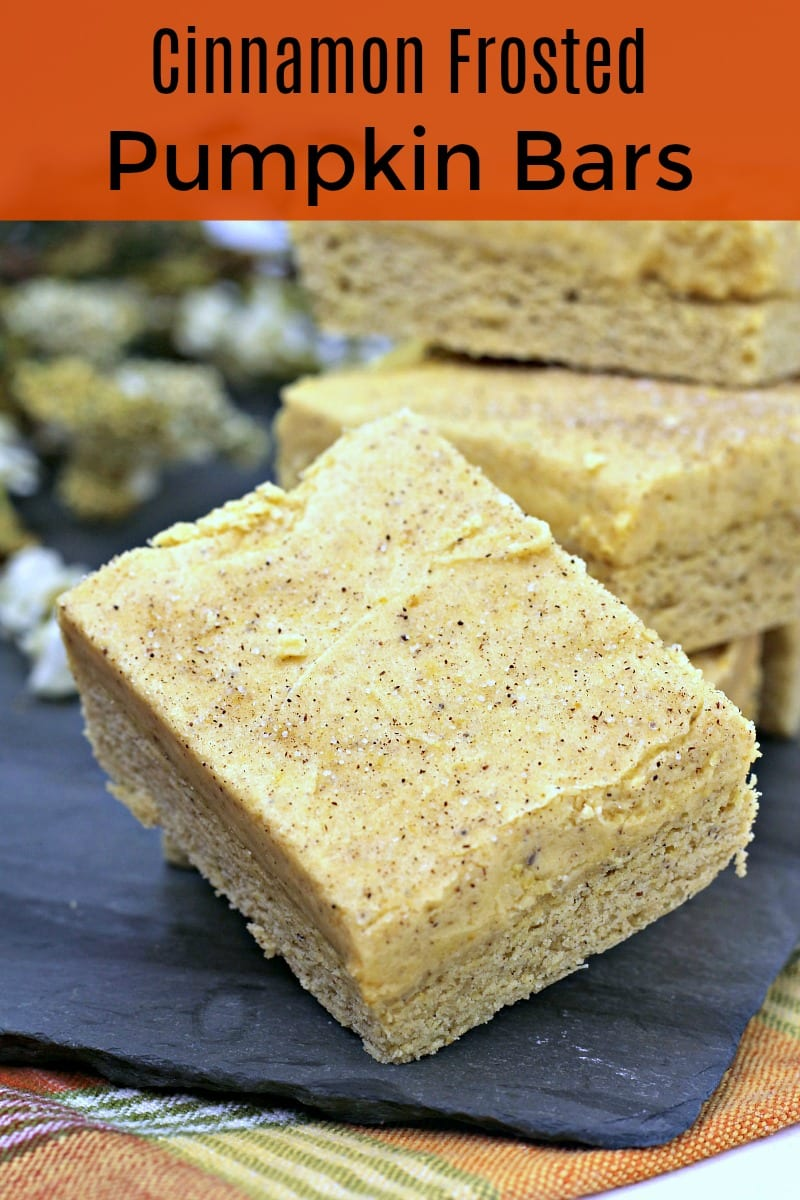 pin pumpkin bars with frosting