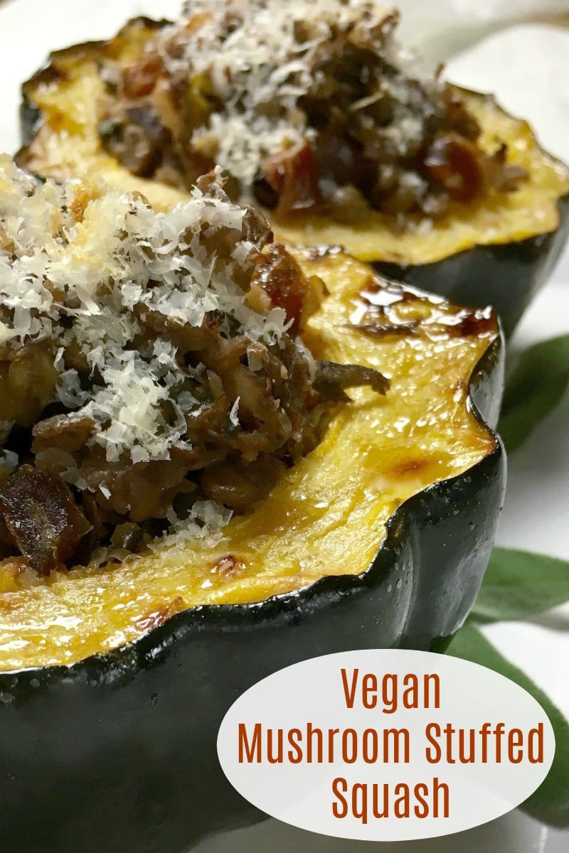 text pin stuffed winter squash with mushrooms