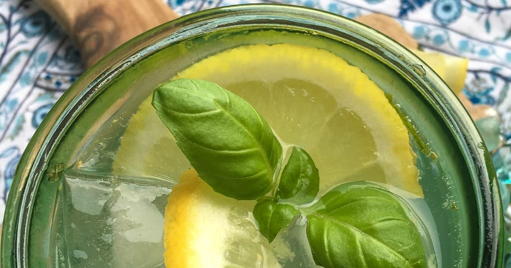looking down on lemon basil drink