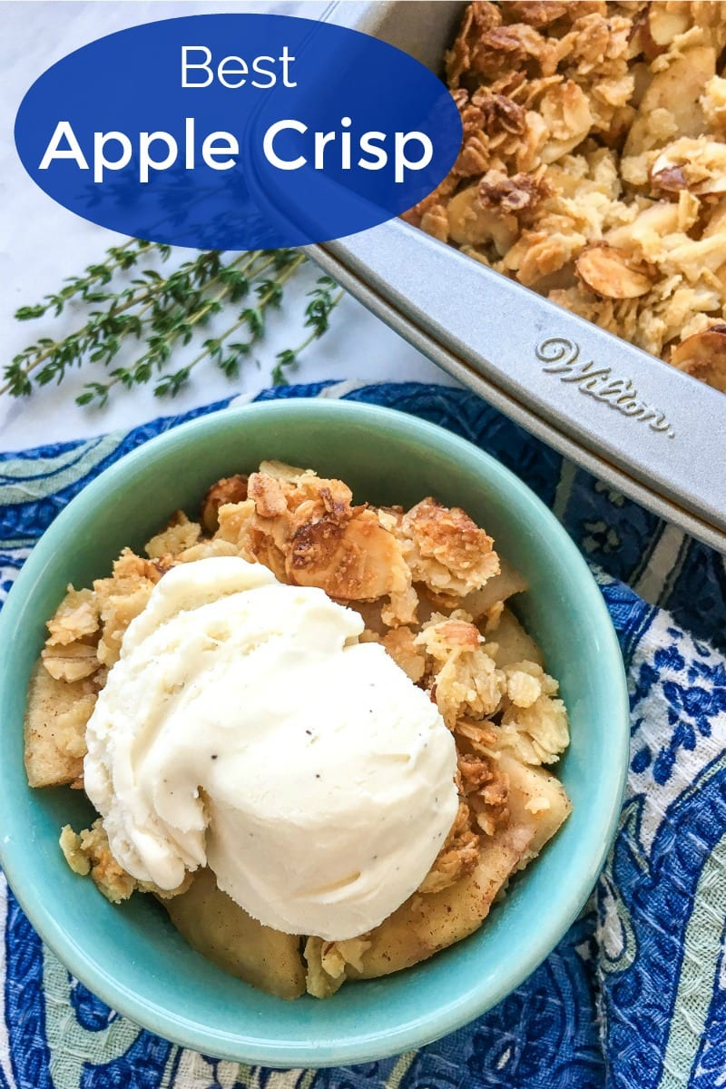 pin a baked apple crisp in bowl