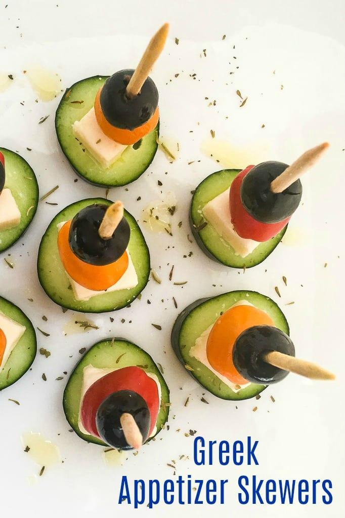 pin greek salad skewers on sticks
