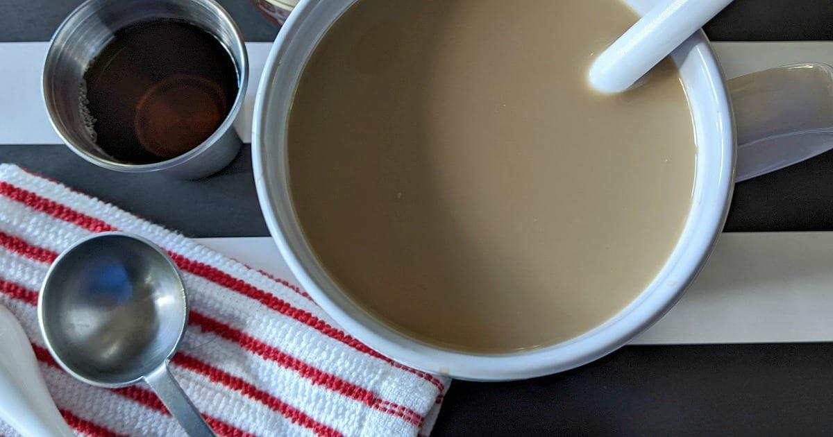 close up vegan chocolate hazelnut coffee with syrup