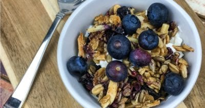 white bowl with homemade blueberry vanilla granola