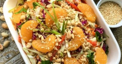 sriracha peanut dressing on asian salad