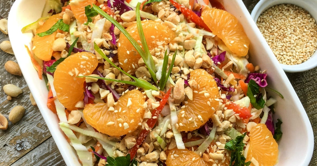 sriracha peanut dressing on asian salad