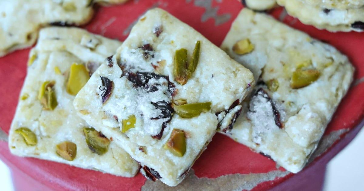 feature white chocolate cherry pistachio cookies