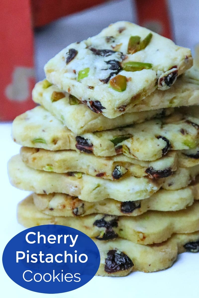 pin a stack of cherry pistachio cookies