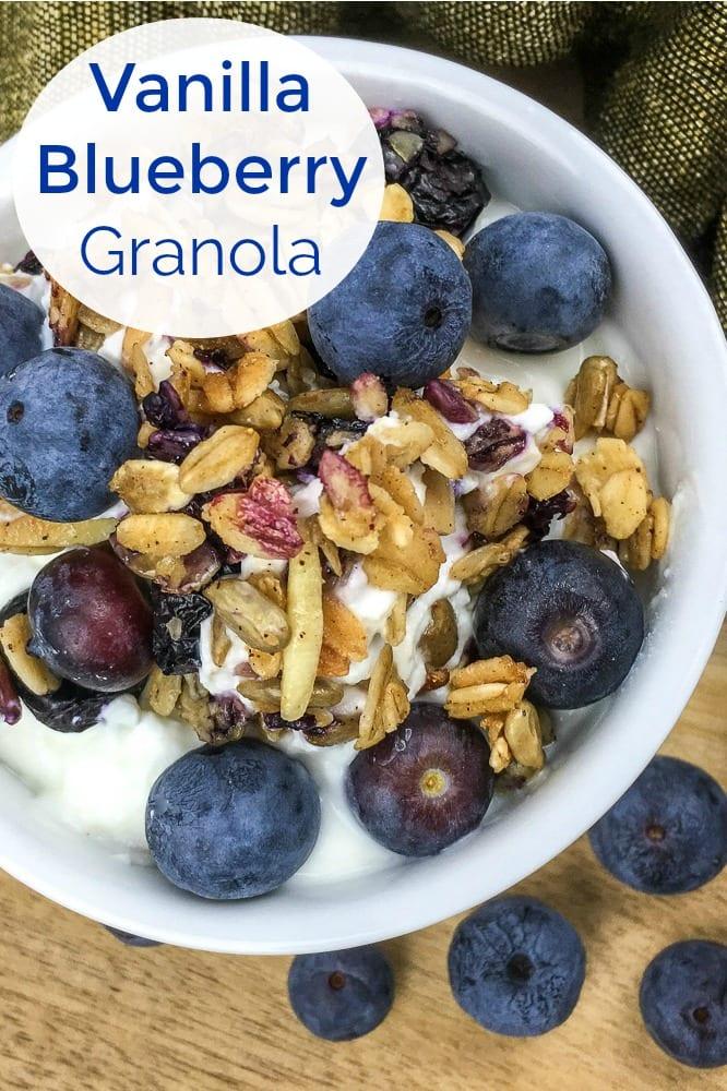 Blueberry Vanilla Granola Recipe #Granola #GranolaRecipes #HomemadeGranola