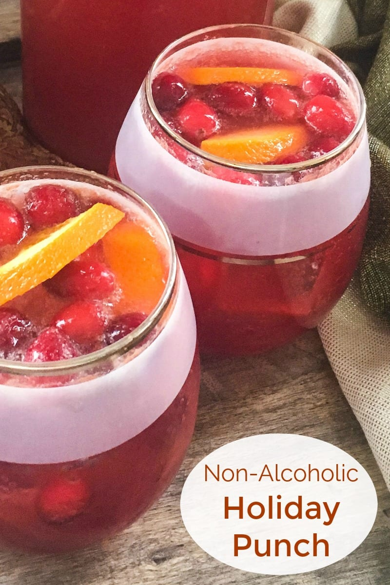 Festive Non-alcoholic Holiday Punch Recipe #Mocktail #NonAlcoholicDrink #HolidayPunch