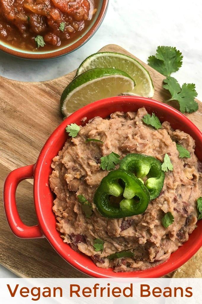 No Lard Vegan Refried Beans Recipe made with coconut oil #vegan #vegetarian #veganbeans #refriedbeans