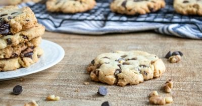 feature dark chocolate chunk cookies with walnuts