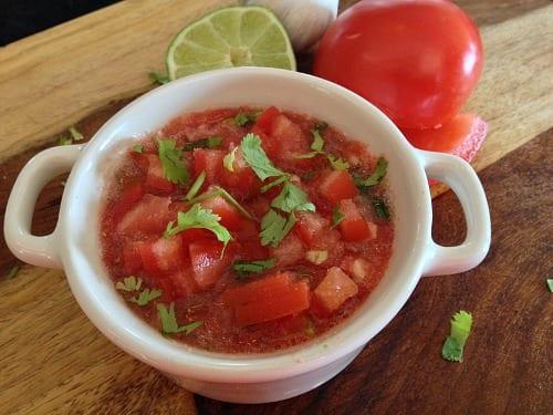 feature homemade garden salsa