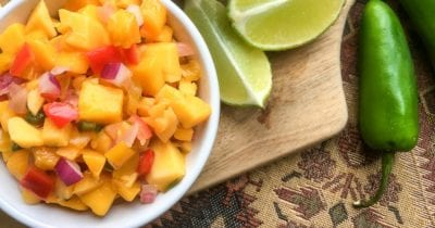 feature mango salsa with lime and jalapeno