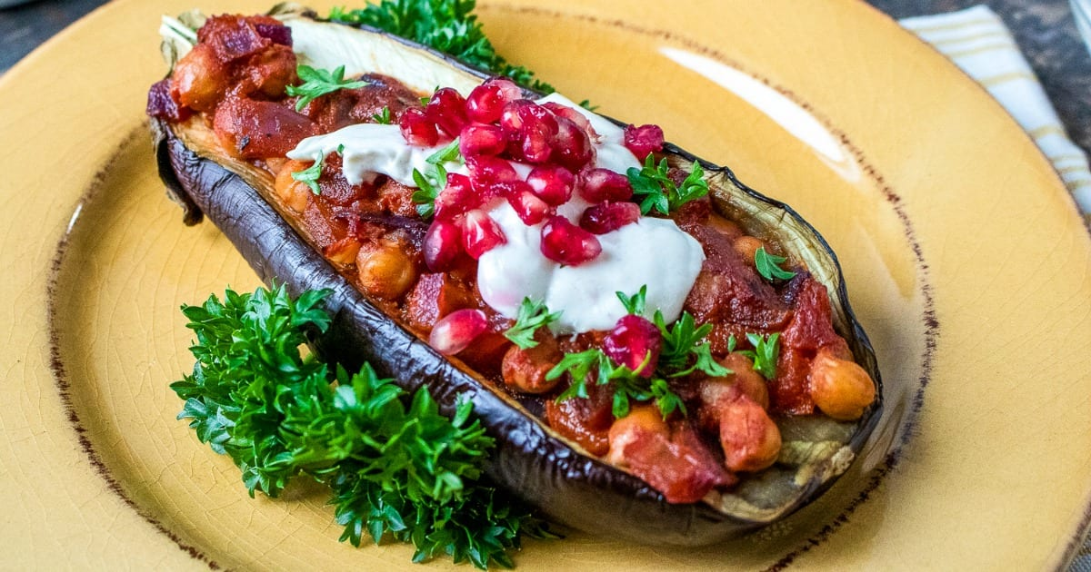feature vegan stuffed eggplant