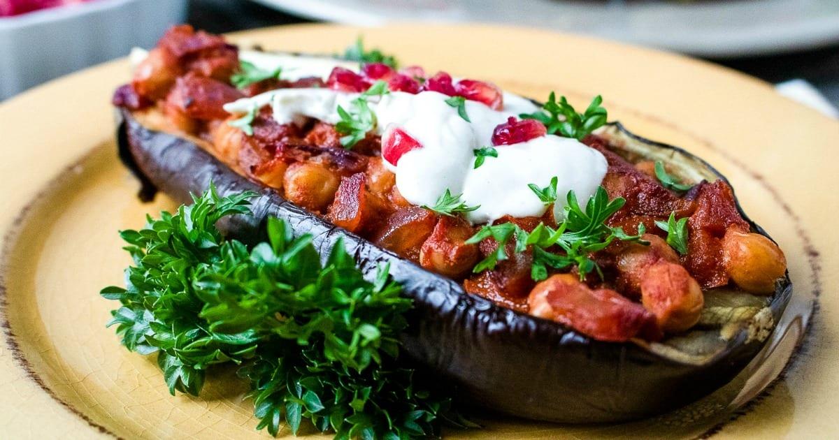 feature vegetarian stuffed eggplant