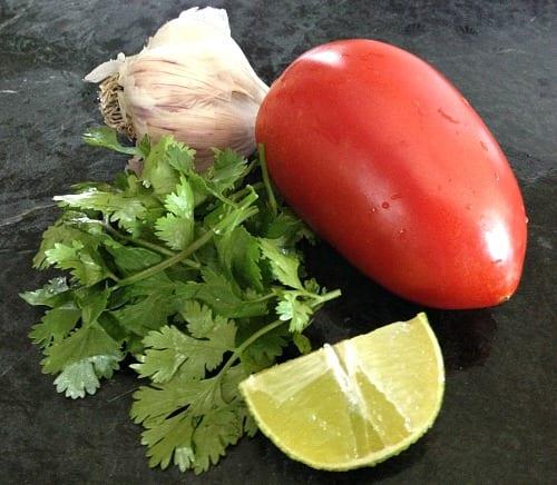 fresh homemade garden salsa ingredients