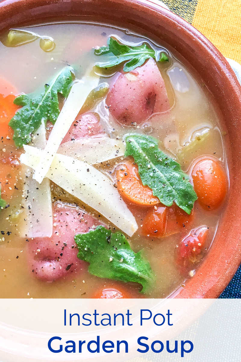 Stock up on veggies at the farmers market or pick them from your own garden, so you can make this vegetarian Instant Pot farmers market soup.