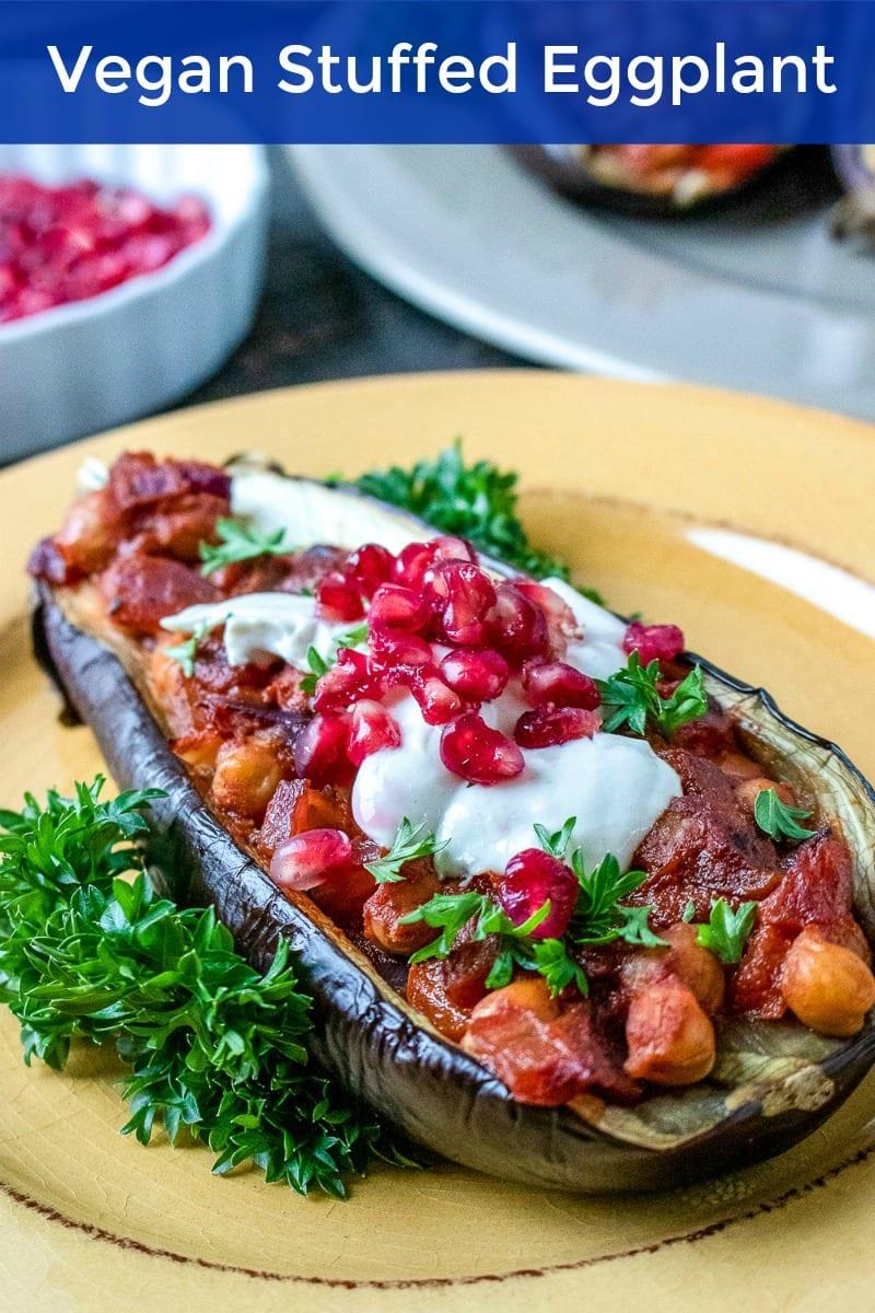 pin plated vegan stuffed eggplant