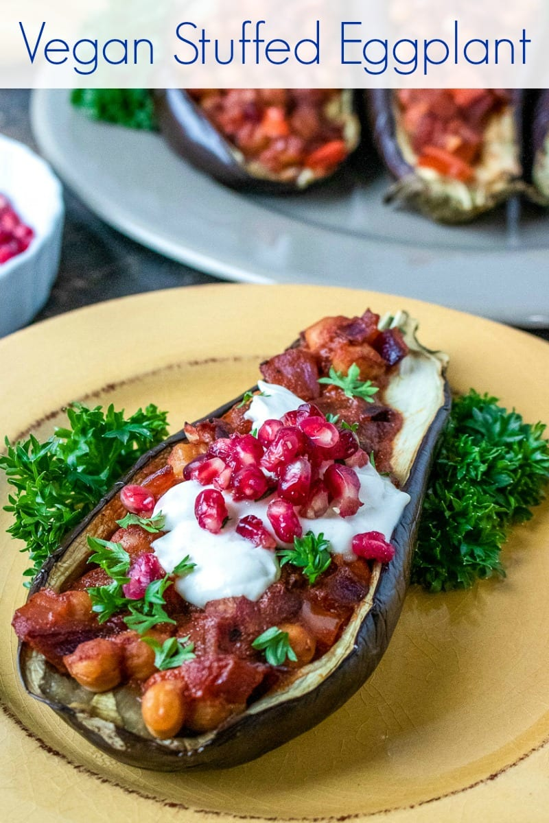 #VeganRecipes #Eggplant Make this vegan stuffed eggplant recipe, when you want a delicious, easy meal.  The tahini dressing and pomegranate arils are the perfect toppings, so